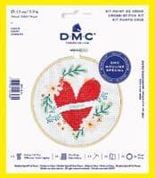 DMC Heart cross stitch kit with hoop